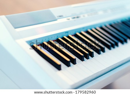 Electric piano close-up - stock photo