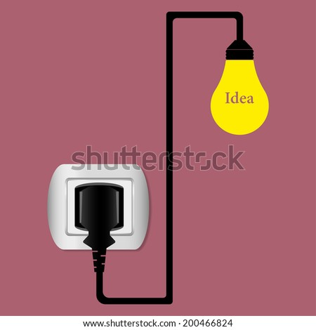 electric plug and socket illustration - stock photo