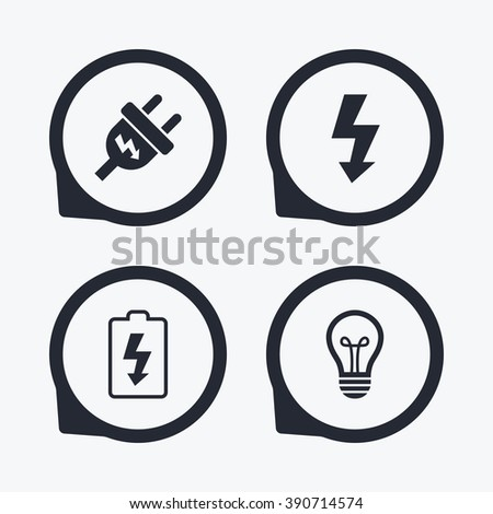 Electric Plug Icon Lamp Bulb And Battery Symbols Low Electricity Idea Signs