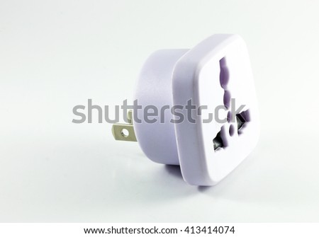 Electric plug isolated on white background. copy space - stock photo