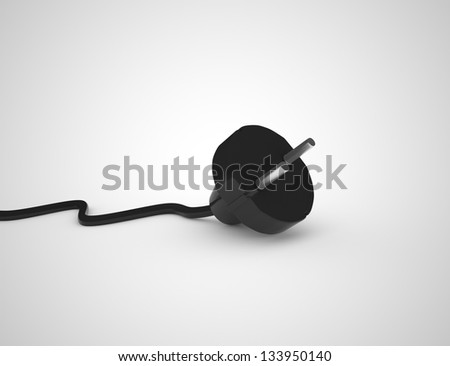 Electric plug isolated on white. 3D render. - stock photo