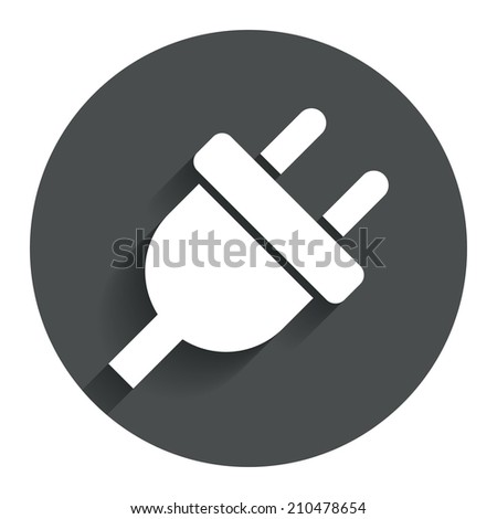 Electric plug sign icon. Power energy symbol. Circle flat button with shadow. Modern UI website navigation. - stock photo