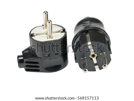 Electric plugs on white background