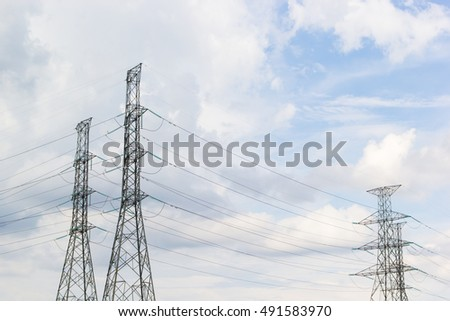 Electric pole building blue sky background