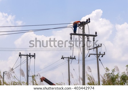 electric pole for install new cable on light poles. - stock photo