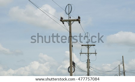Electric pole Located at roadside in Thailand