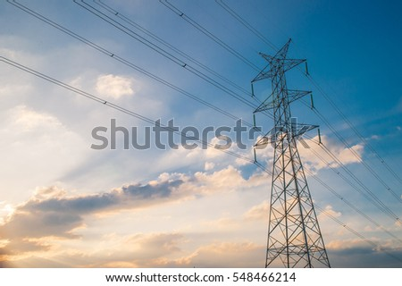 Electric Pole on sunset sky