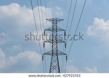 Electric Pole Power Tower,Electricity pylon on blue sky background,High voltage electrical pole structure