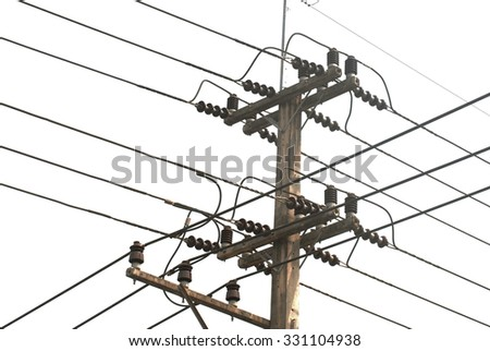 Electric pole, wire on white background