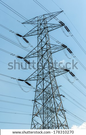 Electric poll and blue sky  - stock photo