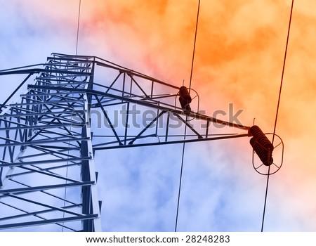 Electric powe-rlines - stock photo