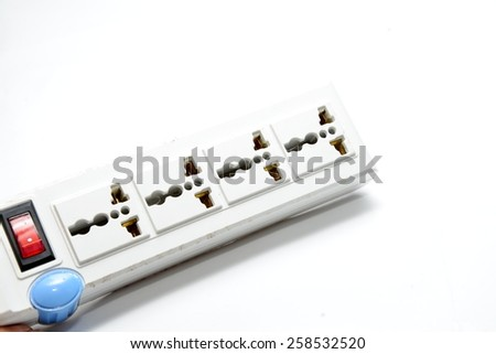 Electric power bar with many plugs,it is a power hub - stock photo
