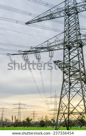 Electric power cable tower - stock photo