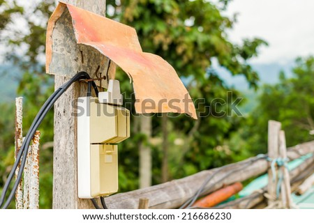 Electric Power control - Dirty and old Wire on The Top of Mountain - stock photo
