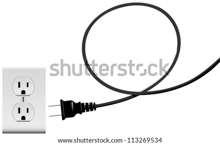 Electric power cord loop forms copyspace plug into outlet - stock photo