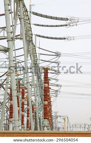 Electric power equipment in a substation, closeup of photo - stock photo