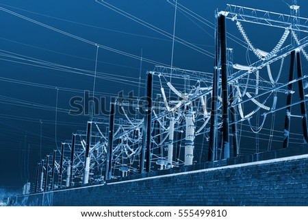 Electric power equipment in a substation, closeup of photo