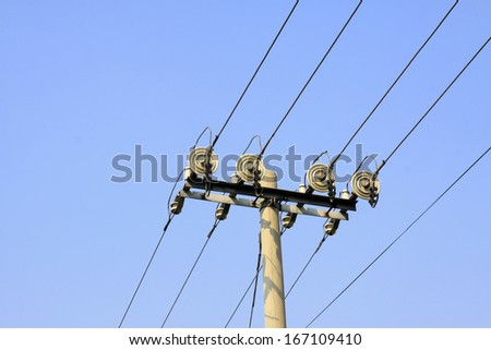 electric power facilities in the blue sky, steel power transmission facilities