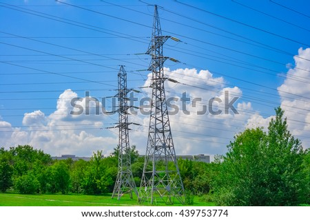 Electric power high voltage transmission line pylon tower - stock photo