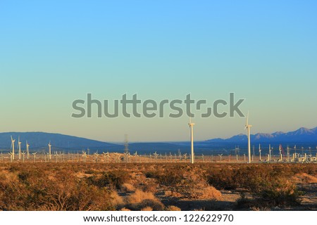 Electric Power Plant driven by Wind, Palm Spring, CA - stock photo
