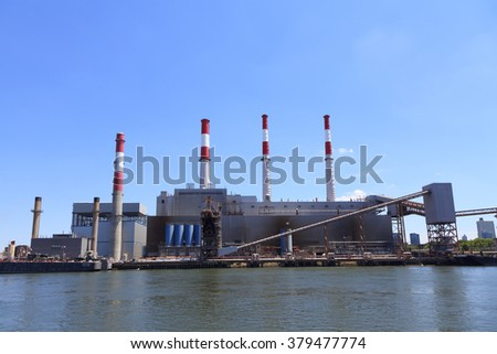 Electric Power Plant, Queens - View from Roosevelt Island, New York - stock photo