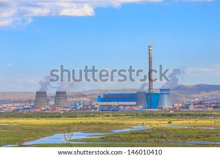 electric power plant, ulaanbaartar, mongolia - stock photo
