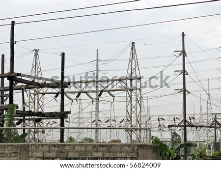 outdoor switchgear power substation equipment stock photo 196271378 shutterstock. Black Bedroom Furniture Sets. Home Design Ideas