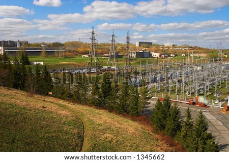 Electric power station and river