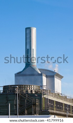 Electric power station detail steam vapour and heat haze - stock photo