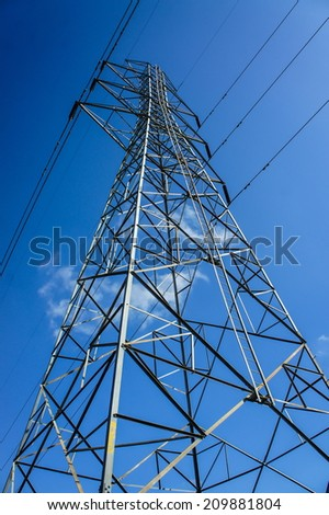 Electric power station in the refinery and blue sky  - stock photo