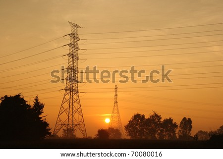 Electric power station on morning. - stock photo
