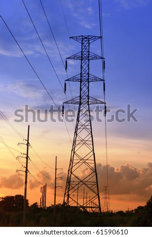 Electric power station on sunset. - stock photo