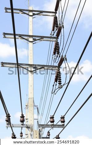 Electric Power transmission lines (115 kV & 24 kV System) against blue sky / Power transmission lines - stock photo