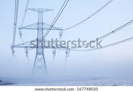 Electric power transmission near city Ruzomberok, Slovakia - stock photo