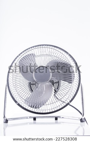 Electric retro style fan on the white background  - stock photo