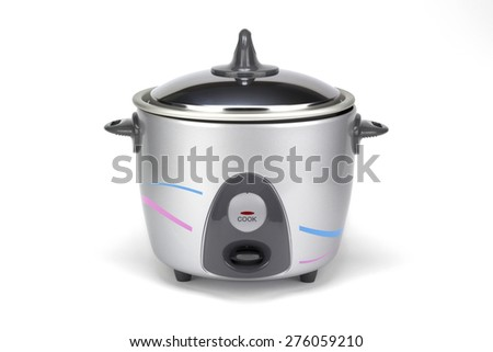 Electric Rice Cooker on White Background - stock photo