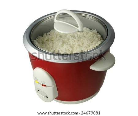 Electric Rice Cooker with rice on white