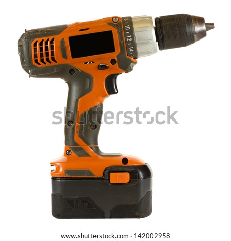 Electric screwdriver isolated on a white background.