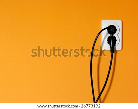 Electric socket and cables - stock photo