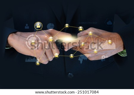 electric spark between two fingers of mans hands - stock photo