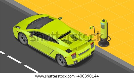 Electric sport coupe car charging station. power supply for Charging of an electric car. Recharging an electric car isometric view.  - stock photo