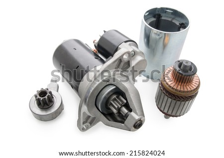 Electric starter and parts of it on a white background - stock photo