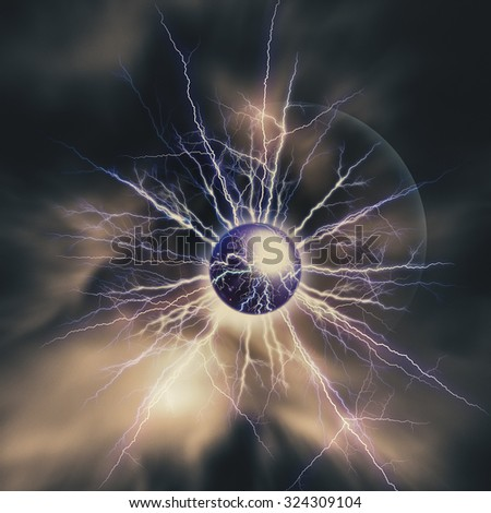 Electric storm. Abstract science and power industry backgrounds - stock photo