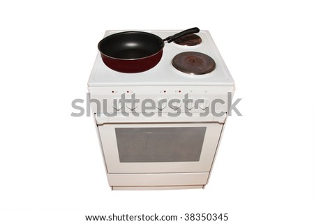 electric stove with pan  under the white background - stock photo