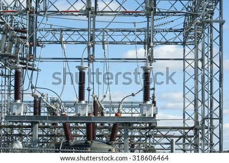 electric substation high voltage power plant electricity distribution wire - stock photo