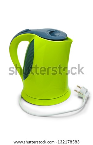 electric tea green kettle isolated on white background