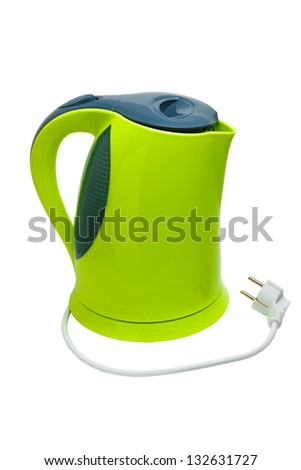 electric tea green kettle isolated on white background clipping path