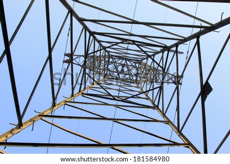 electric tower bottom view in the blue sky, steel power transmission facilities