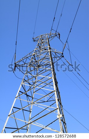 electric tower in the blue sky, steel power transmission facilities, HeBei, North China.