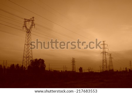 electric tower in the pink sky, steel power transmission facilities